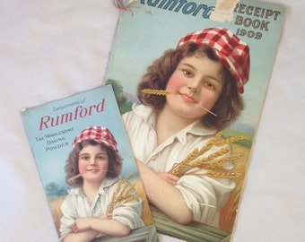 Rumford Baking Powder Cookbook from 1909, Young Giel Wearing Checkered Hat with Wheat in Her Mouth