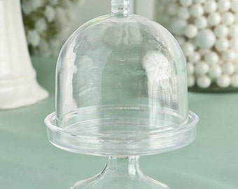 50 Clear Mini Cake Stand Cupcake Favor Wedding Container Baking Supply