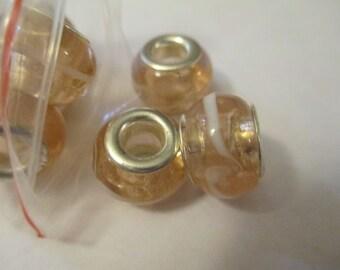5 Gold Swirled Glass Euro Beads Craft Supplies
