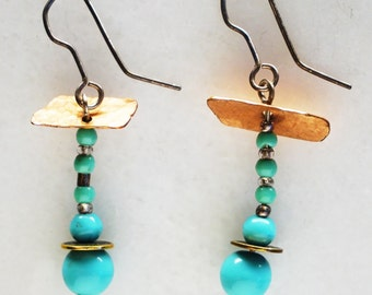 Petite Vintage Turquoise Blue Beaded earrings