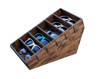 6ct Sunglasses Display Case Storage Holder Organizer Shelving Shelf 3D Glasses  Rack Oak Wood