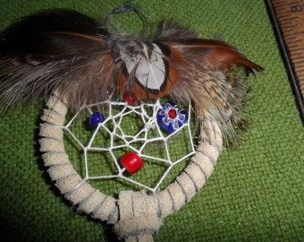 Handmade Smaller Tan Dream Catcher w/Pheasant Feathers & Glass beads