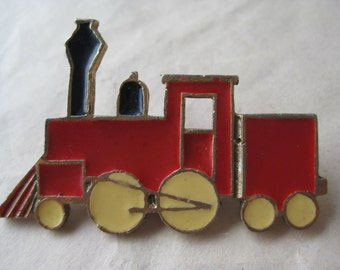 Train Engine Brooch Red Gold Black Pin Vintage