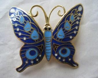 Butterfly Blue White Brooch Gold Enamel Vintage Pin Cloisonné Pendant