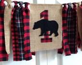 Woodland bear lumberjack High Chair Banner 1st Birthday cake smash photo prop Birthday Banner Burlap Banner Rag Tie Banner Buffalo plaid