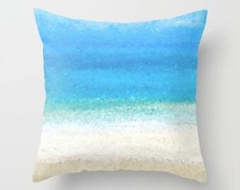 Throw Pillow Cushion Case Design 31 Sea Ocean Beach Sand blue from art painting L.Dumas