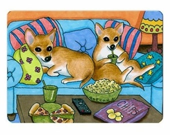 Fridge Magnet Print ACEO from my funny original painting Dog 99 Chihuahua by Lucie Dumas