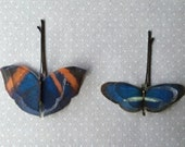 Soft - Handmade Cotton and Silk Organza Blue and Orange Butterflies Hair Bobby Pin - 2 pieces