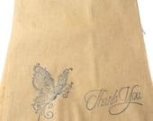 """10 Paper Bags,Gift Bags, Thank You Exotic Butterfly, blue Stamped, Brown Kraft, 9.25"""" x 6.25"""", Packaging Supplies, Party Favor Bags"""