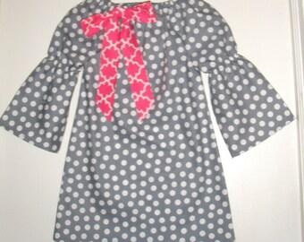 dress  Gray Polka dots Girls dress long sleeve peasant dress  tunic dress 2t,3t,4t,5t, 6,7,8,10,