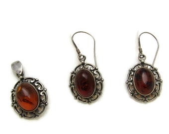 Sterling Amber Earring Vintage Jewelry E7239