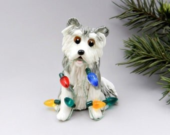 Alaskan Malamute Christmas Ornament Figurine Lights Porcelain