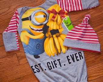 Minions Pixar Bananas Graphic Infant Baby Layette Gown and Knot Hat