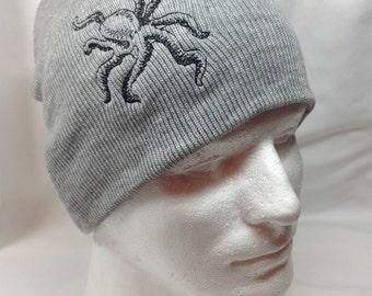 Black Tentacles Octopus on Grey Hat Beanie Skullcap Cosplay Ocean Creature