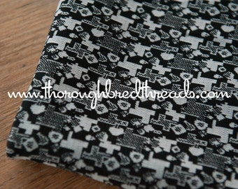 Mod Geometric - New Old Stock Vintage Fabric 60s 70s Gray Black