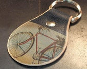 Vintage inspired bike keychain. Leather. Handmade.