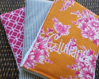 Monogrammed Burp Cloth, Personalized Burp Cloth, Set of 3, Orange and Pink Floral