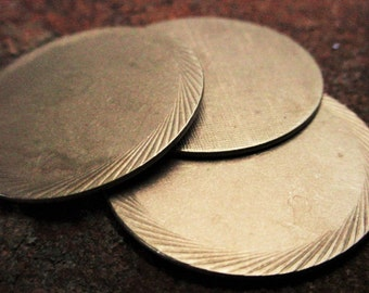3pc Quality Vintage Brass Raw 32mm Blank Die Struck Coin Round Disc 18 g Sheet Metal 1 .25 1/2 Inch Circle Jewelry Findings Art Supplies 8J