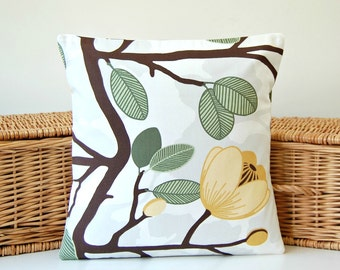 14 inch grey green brown mustard yellow decorative pillow cover, flowers floral leaves, cushion cover 35 cm