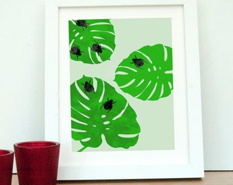 Monstera Leaves - tropical leaves, fine art print, beetles, green leaves, illustration, Leaf Wall Print, Botanical Print
