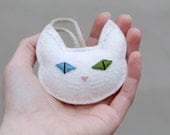 Cat Christmas Ornament Embroidered, White Cat Multi Colored Eyes in Blue and Green, Felt Cat Head Christmas Ornament for Cat Lover