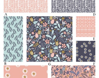 Peach and Navy Floral Woodland Baby Girl Custom Crib Baby Bedding - Blackbird in Peony
