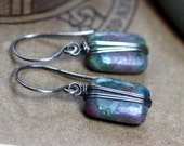 Ruby Kyanite Earrings Silver Wire Wrapped Turquoise Green Earrings Pink Gemstone Earrings Rustic Jewelry