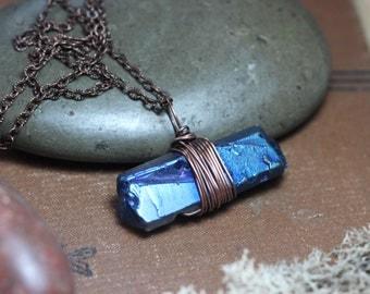 Quartz Point Necklace Raw Blue Quartz Crystal Necklace Copper Wire Wrapped Rustic Jewelry