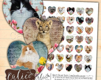 Kitten Collage Sheet, Heart Shape Images, Heart Cabochon, Digital Images, Printable Paper, Images for Pendants, 1 inch Heart, CalicoCollage