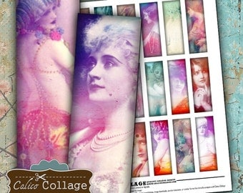 L'Amour Vintage Collage Sheet 1x 3Microslide Images for Soldering Jewelry Decoupage Paper Calico Collage Vintage Printables Burlesque Ladies