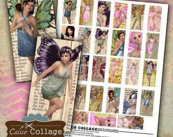 Fairy Ephemera 1x2 Domino Images Digital Collage Sheet Printable Download 1x2 Inch size Images for Pendants Bezel Trays Magnets