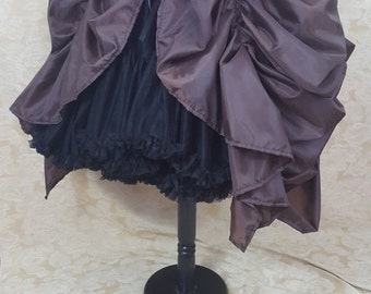 Dark Brown Super Full Cabaret Steampunk Midi Length Tie On Bustle Skirt-One Size Fits All