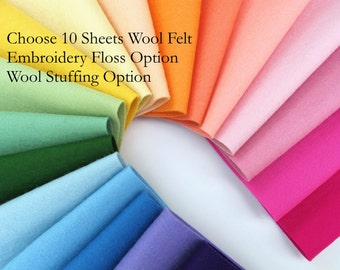 Wool Felt Fabric, Choose TEN Sheets, Pure Merino Wool, Sewing Supply, DIY Felt, Wool Applique, DMC Floss, Wool Stuffing