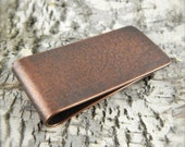 Money clip, plain money clip, textured copper, antiqued patina, handmade gifts for him.