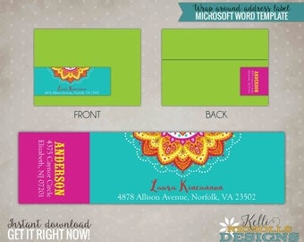Custom Mexican Fiesta Wrap Around Return Address Labels, Mexican Lace, Instant Download #B115