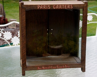 Antique Paris Garters Wood Store Display Case, Display Cabinet