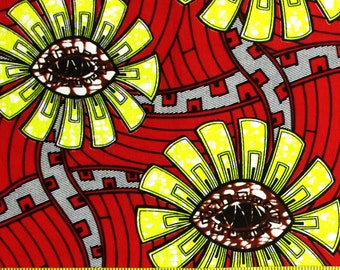 African Fabric 1/2 Yard Cotton Wax Print RED YELLOW BLACK Brown Abstract