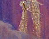 Acrylic Angel Miniature ACEO painting signed Healing Energy