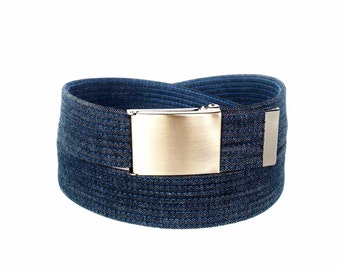 Indigo blue jeans denim belt men's and women's