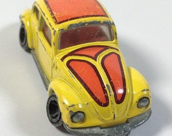 Vintage 1977 Tomica  F20 miniature die cast Volkswagen Bug Yellow Retro