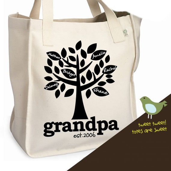 Grandpa tote bag - family tree - grandpa established year heavyweight tote bag