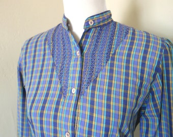 Vintage 1970s Blouse, Levi Strauss & Co. Purple, Aqua, and Yellow Plaid Plaid Cotton Poly Blouse, Vintage Sz 12, Retro Western Prairie Style
