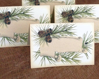 Wedding Place Cards Rustic Woodsy Pine Postcard Tent Style Place Cards or Table Place Cards #348