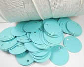 100 Aqua Circle Tags, Aqua Round Tags, Circle Paper Tags, Jewelry Hang Tags, Price Tags, Supply Tags, size 1 Inch, Heavy Weight tags