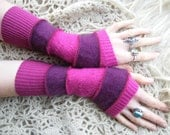 Gorgeous Pinks and Purples Upcycled Woollens Fingerless Gloves Arm Warmers