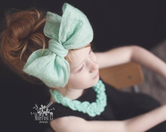 Hand Felted Head Band Merino Mint 6mos plus