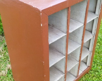 WOOD CUBBY BIN, Painted Wood Storage stand,Vintage Storage Bin,Industrial Storage Bin,12 Compartment Cubby,Office Storage,House storage