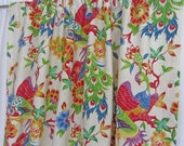 "Bright Bird Curtains, Red Blue Green Bird Window Curtains, Bird Home Decor, Elegant Floral Drapes, Custom Rod Pocket Panels, One Pair 50""W"
