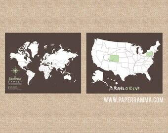 Wanderlust Travel Map, Wanderlust World Map, Wanderlust USA Map // H-I22-2PS AA4