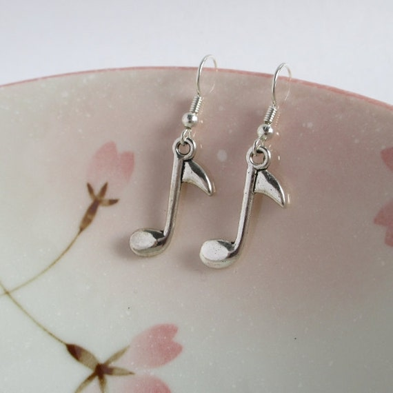 Music Note Earrings, Antiqued Silver Earrings, Music Lover Gift, Musical Jewelry, Silver Plated Or Sterling Silver Ear Wires